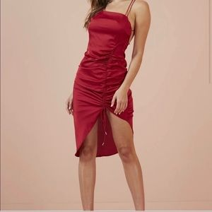 Finders Keepers Emilia Red Open Black Slip Dress